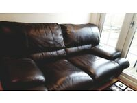 2 SEATER LEATHER SOFA WITH MATHCING FOOT STOOL