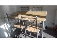 Beech effect kitchen / dining table with 4 chairs