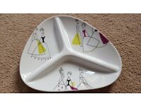 SANDERSON FOR PORTMEIRION FIFI DIVIDED PLATE - BRAND NEW IN ORIGINAL BOX