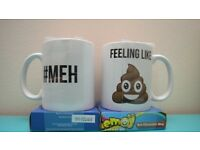 "Poo emoji hot chocolate mugs NEW IN PACKAGING - ""Feeling like poo"" - ""#MEH"""