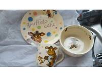 Gruffalo plate bowl and cup spotty design
