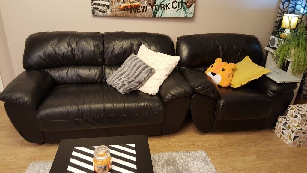 a3e73bf243b 4 images Black Leather sofa 2+1+1 Aberdeen Black leather 2 seater ...