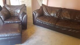Real leather 4 seat settee with armchair and footstool