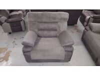 New ScS Curve Electric Recliner Fabric Armchair CAN DELIVER. Viewing / Collection Kirkby NG17