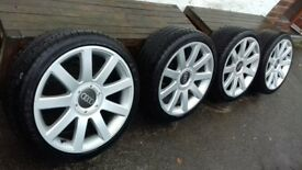 Audi A4 18 inch alloys and tyres. 2 Dunlop, 1 Pirelli. 1 Talon tyre.
