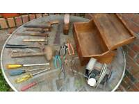 Joblot of vintage tools and toolbox and grinder