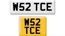 W52 TCE private cherished personalised personal registration plate number