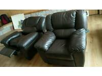 Brown leather Sofa + reclainer + armchair
