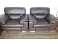 Excellent condition and only a year old. 2 seater, 2 x single seater plus footstool. Brown leather.