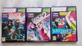Dance Central 1 + 2 and Just Dance 3. XBox 360