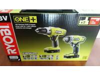 RYOBI ONE+18V HAMMER DRILL AND IMPACT DRIVER 2X BATTERIES CHARGER &CARRY CASE
