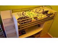 CABIN BED MID SLEEPER BED VGC WHITE with lots of storage, wardrobe and desk