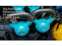 Kettlebells 5kg each - pair available