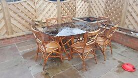 Patio cane table with 6 chairs - outdoor furniture