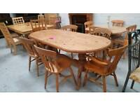 Large 6ft x 3ft solid pine dining table & 6 chairs in good condition can deliver 07808222995