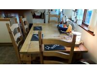 Large kitchen table & 4 chairs for sale. Dimensions H-760m/m B-915mm/m L-1530m/m solid table.