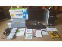Packard Bell windows xp computer, Flat Screen, keyboard & HP Pinter,scanner, copier