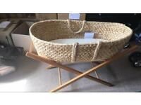 Moses basket, basket mattress, and stand