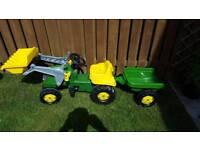 John Deere kids pedal tractor and trailer set