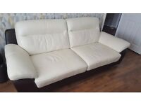 *Reduced* Full Leather 3 seater sofa, matching large armchair and pouffe