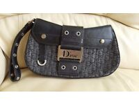 Amazing small leather black and silver bag / handbag Christian Dior
