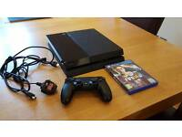 PS4 500GB with controller, cables and game