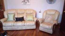 Camel coloured 3 seater sofa, 2 chairs