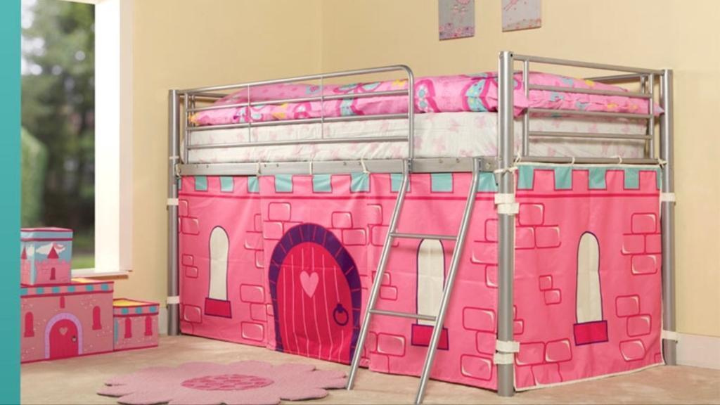 Metal frame cabin bed with pink castle tent | in Chaddesden ...