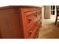 Attractive light wood three drawer chest x2