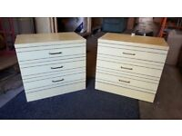 Pair Of Vintage Formica Bedside Cabinets With 3 Drawers Each