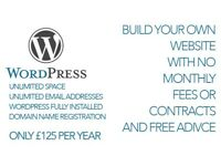 Build your own website with Wordpress. £125 with a free setup consultation