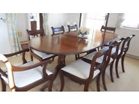 Mahogany extending dining table.