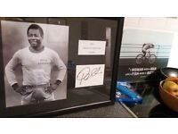 SIGNED PELE CARD MOUNTED AND FRAMED WITH A PHOTO OF PELE