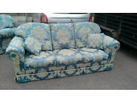 Teal, floral 3 seater sofa and 2 chairs