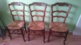 Set of 6 Dining Rooms Chairs, dark brown hardwood frames with rush seats