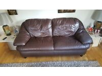 Brown Leather 3 Seater Sofa.