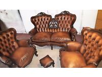 CHESTERFIELD STYLE, LOUIS XV SOFA, ARMCHAIRS AND FOOTSTOOL