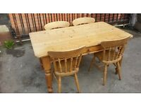 Pine farmhouse dinning table and chairs Antique shop 2 Sculcoates Lane Hull