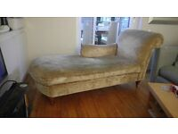 Chaise Lounge sofa- Gold Crushed velvet
