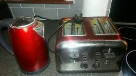 kettle and toaster red