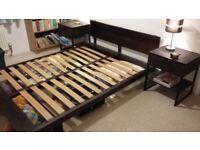 Dark brown mango wood Double bed.. 165cm x 137cm x 20cm height.headboard height 62cm.