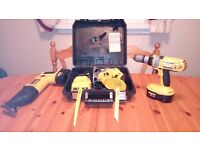 """REDUCED"" Dewalt 18v cordless set. Recip Saw/Jig Saw/Drill,Batteries/Charger, see photos & detail"