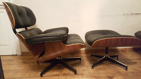 Charles Eames Inspired Real Black Leather Lounge Chair and Ottoman