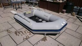INFLATABLE DINGHY 230 2.3M , SOLID OUTBOARD TRANSOM DINGY TENDER RIB SIB BOAT