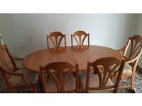 Dining Table with 6 Chairs & matching Dressor / Wall Unit