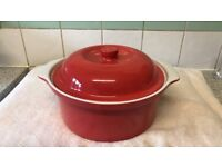 Red casserole dish 8.5 inches. Collection only