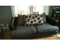 3 seater and 2 seater sofas and pouffe £420 cost £1600 only 18months old