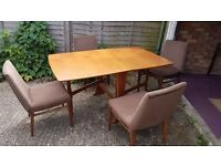 SOLID WOOD DROP LEAF DINING TABLE WITH 4 CHAIRS + FREE DELIVERY