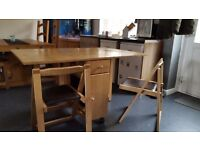 Solid oak folding table and chairs