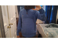 Men's Large Cable Knit Tussah Silk Sweater Blue Half Zip by Polo Ralph Lauren